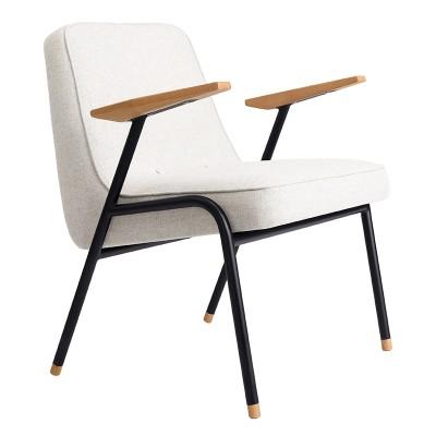 366 Metalen fauteuil van witte en blauwe wol 366 Concept